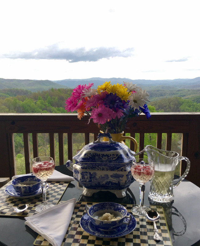 Interior Design Inspiration ...Balcony Dining w/Spode & Waterford ...what more could a girl ask