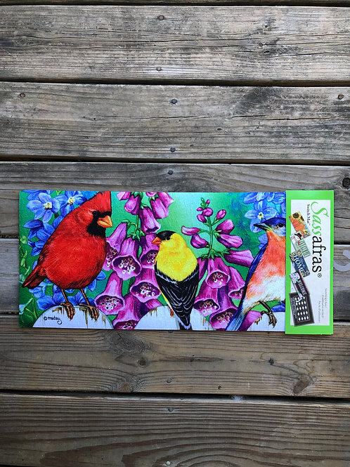 Porch Mat Insert with Birds and Summer Flowers