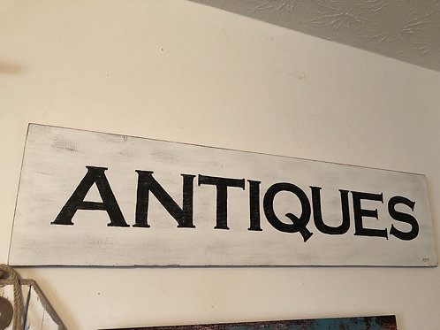 """Antiques"" Painted Wooden Sign"