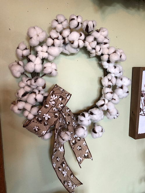 Small Cotton Farmhouse Wreath
