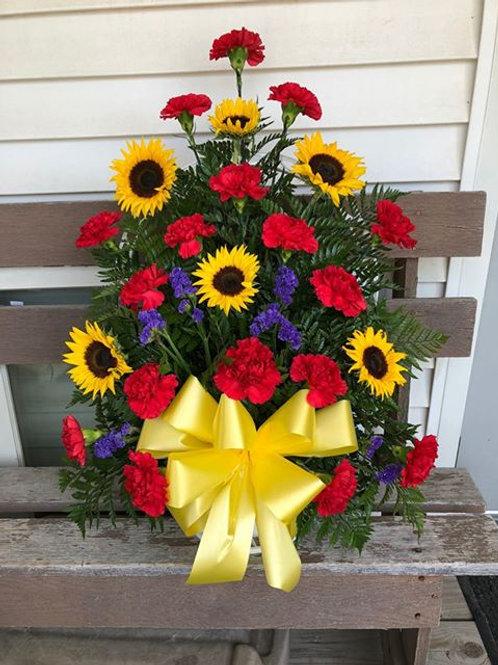 Sunflower and Carnation Sympathy Basket