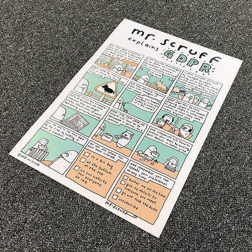 """Mr Scruff """"GDPR"""" Signed A3 Print"""