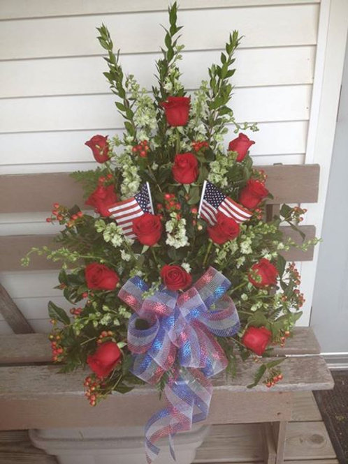 Patriotic red rose sympathy basket