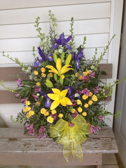 Spring Lily and Iris mix Sympathy Basket