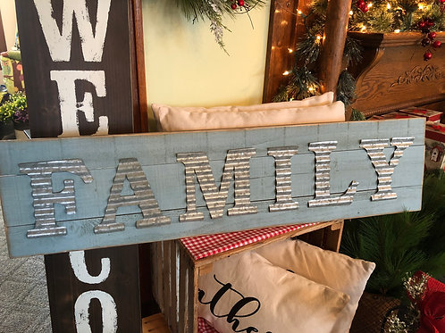 """Wooden Sign with """"Family"""" in Galvanized Letters"""
