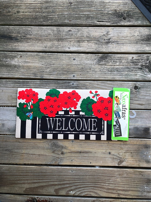 Porch Mat Insert with Geraniums and Welcome Message