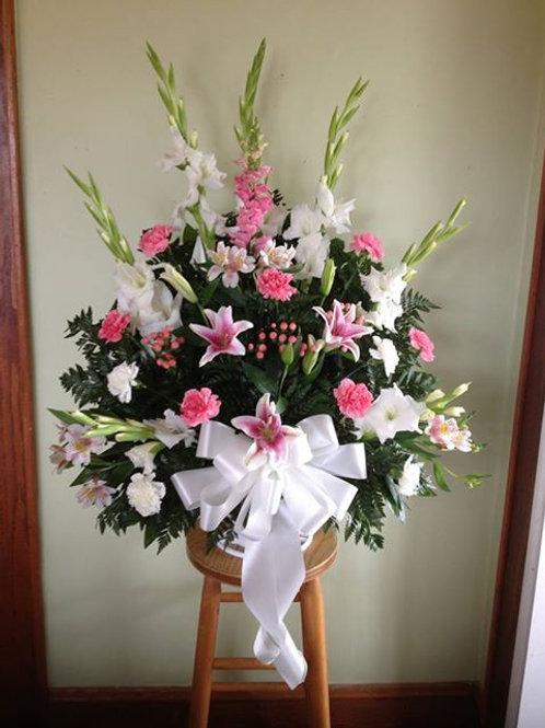 Stargazer lily mix sympathy basket