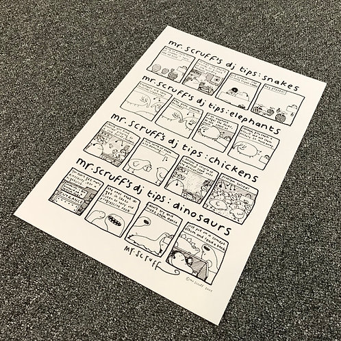 "Mr Scruff ""DJ Tips"" Signed A3 Print"