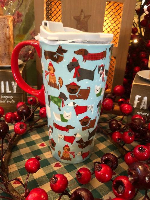 Festive Fidos Ceramic Travel Mugs