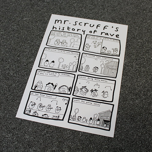"Mr Scruff ""History Of Rave"" Signed A3 Print"