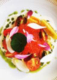 Økologiske lokale tomater og yuzo cream