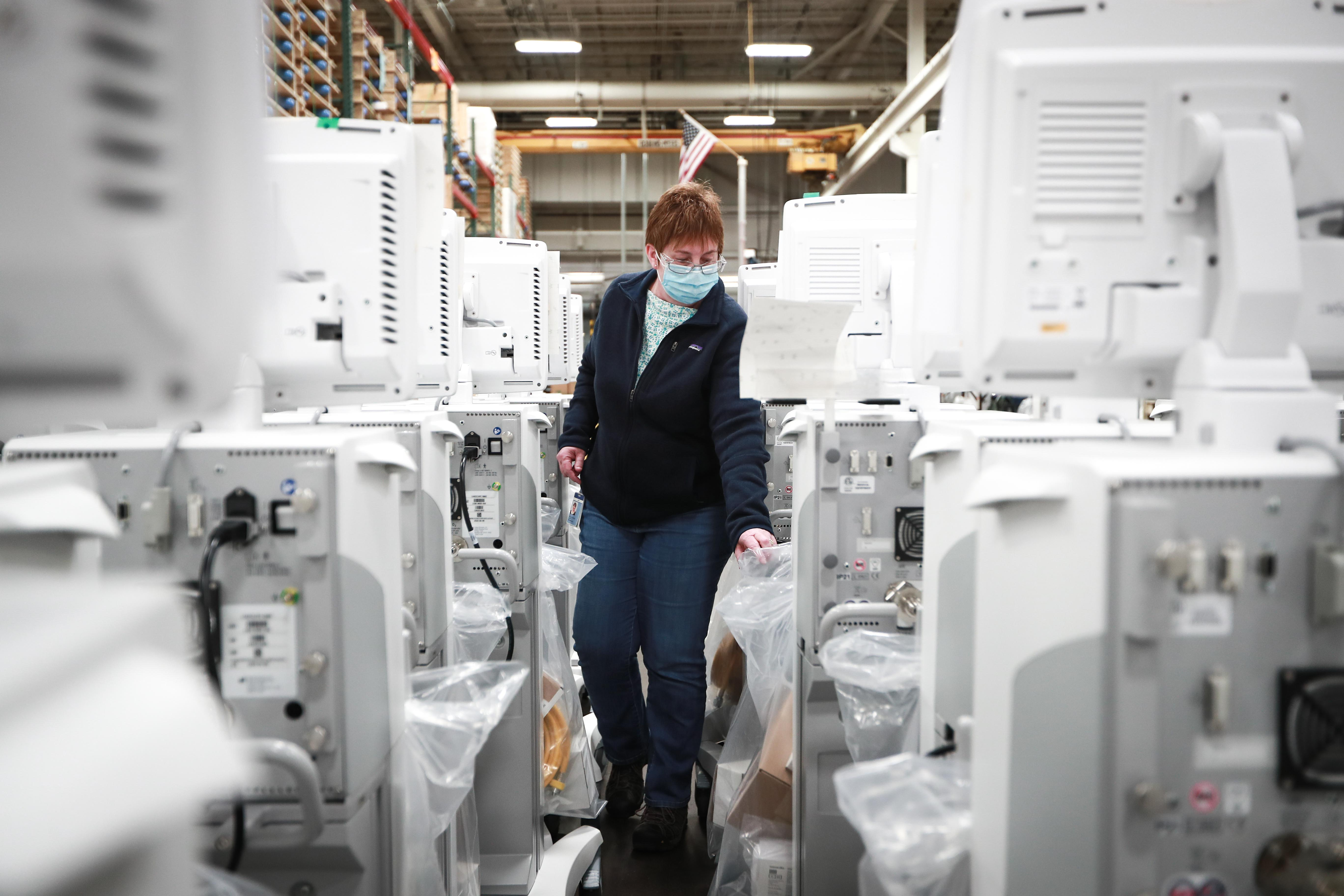 Lori, the Logistics manager at the Madison Plant, does final checks before shipping the R860 Ventila