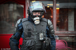 The French police were firm but restrained. Also kitted up for the worst case scenario.
