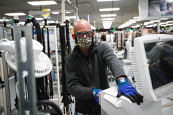 An R860 Ventilator gets handed over for final testing at the Madison Plant, WI.