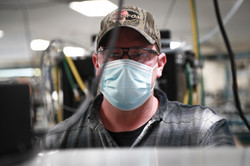 A Union worker assembling the core of the R860 Ventilator at the Madison Plant, WI.