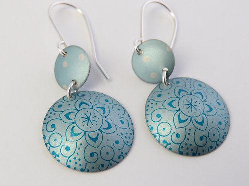 Blue Round Earrings