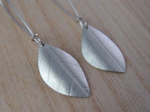 Long Hanging Leaf Print Earrings