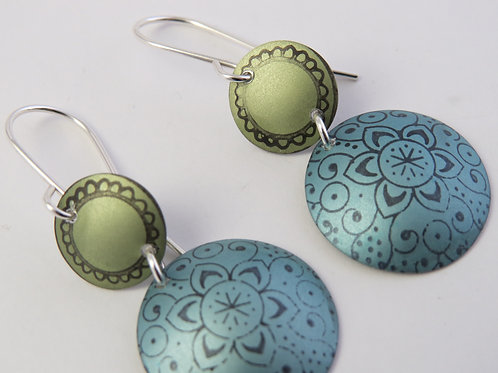 Gold and Green Round Earrings