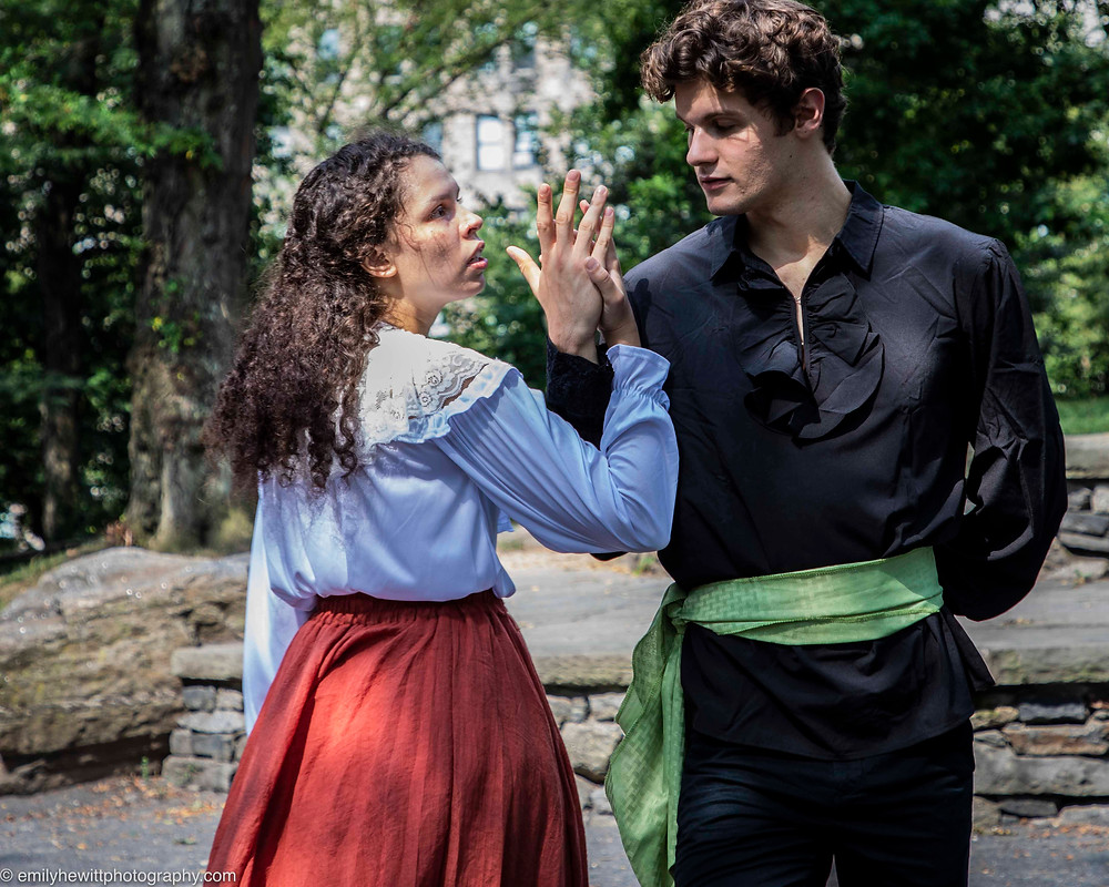 Jianzi Colón-Soto as Rose and Preston Fox as Montague fall in love at a party in this prequel to Romeo & Juliet. Photo by Emily Hewitt.