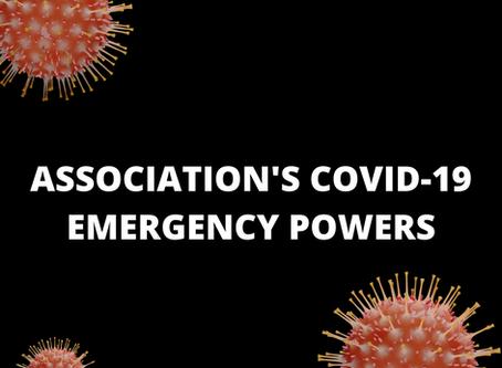 MEMORANDUM REGARDING  ASSOCIATION'S COVID-19 EMERGENCY POWERS