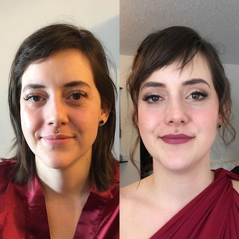 Before and after look for this bridesmai