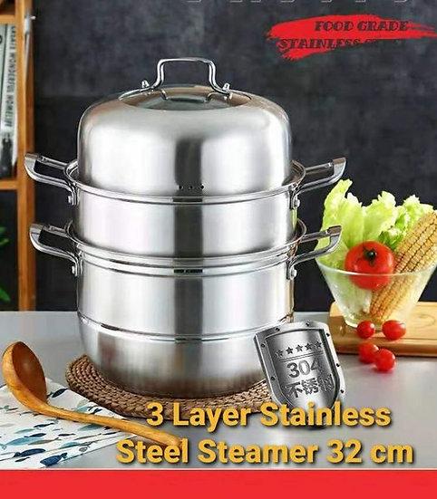 3 Tier Stainless Steel Steamer Set 32 cm diameter