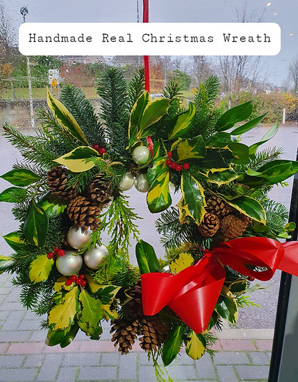 Handmade Real Christmas Wreath ( Red and Gold)