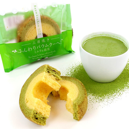 TAIYO FOODS  Funwari Baumkuchen: Milk + Matcha
