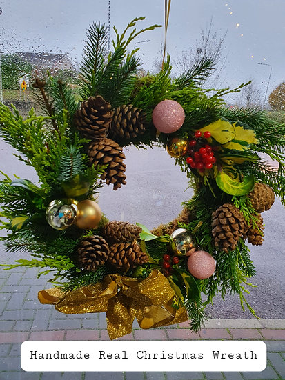 Handmade Real Christmas Wreath (Gold & Pink)