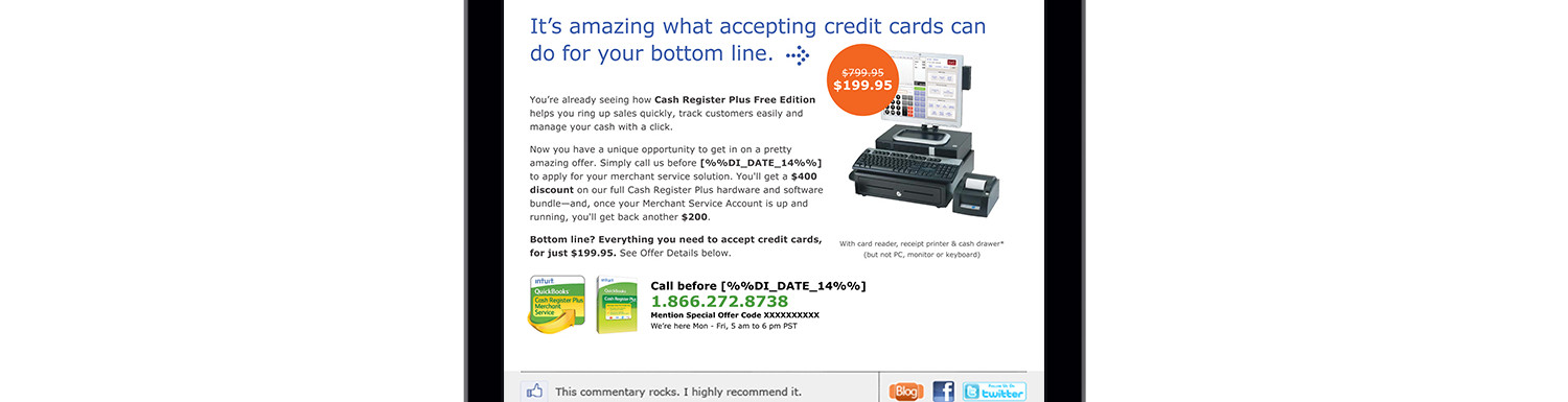 Intuit Cash Register Plus Email