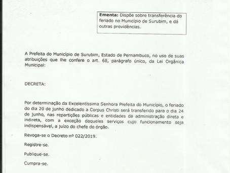 Feriado | Prefeitura transfere o feriado de Corpus Christi para 24 de junho em Surubim