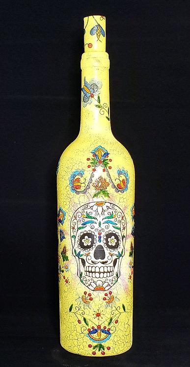 Yellow Sugar Skull & Flowers