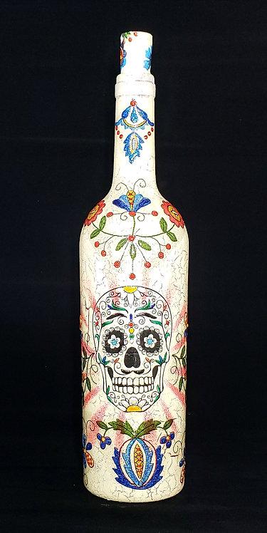 Cream Sugar Skull & Flowers