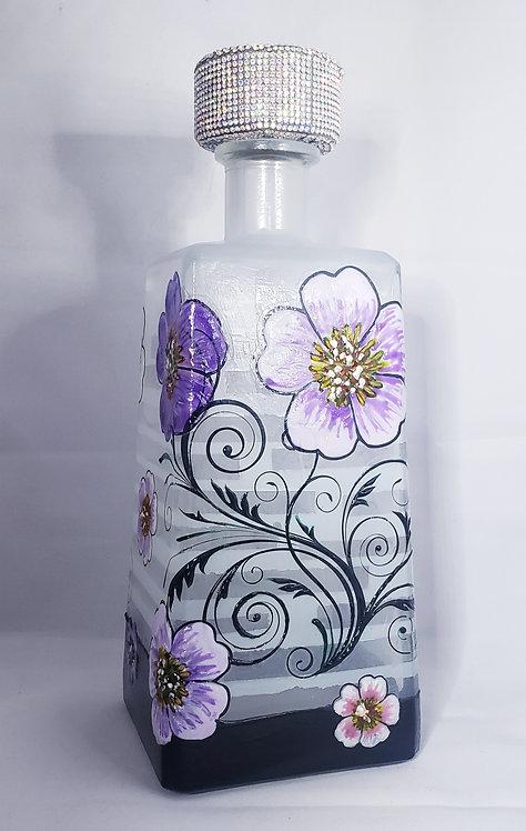 Purple Flowers Bottle Light