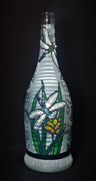 Dragonfly Stained Glass Effect Bottle Light