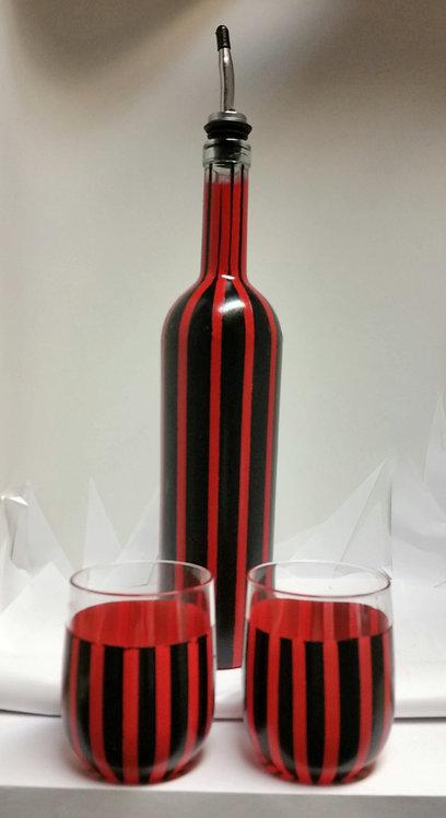 Red n Black Stripe 3 Piece Bottle Set