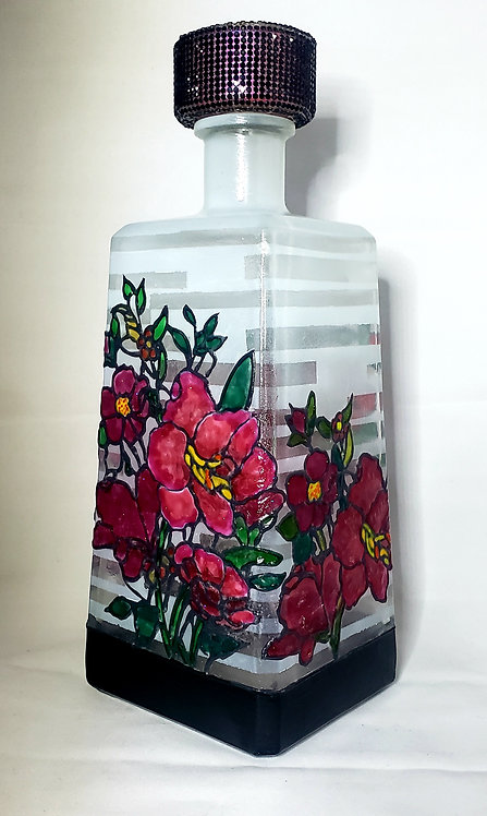 Red Flower Garden Bottle Light