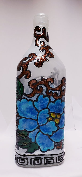 Stained Glass Bottle Flower Lamp