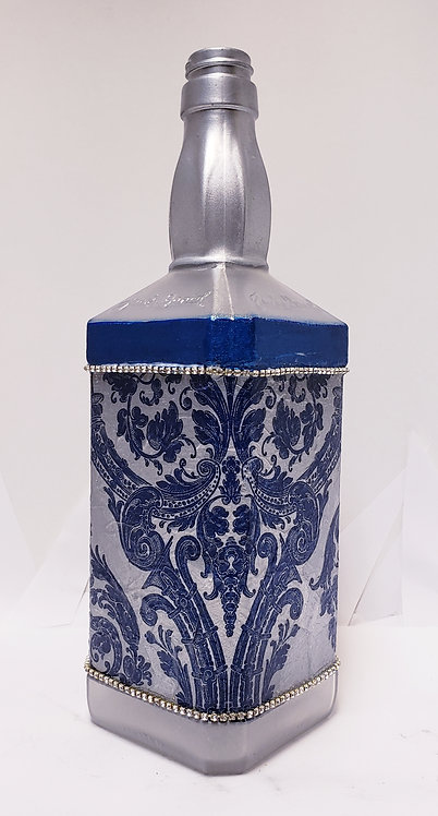 Silver & Royal Blue Damask Lamp Base