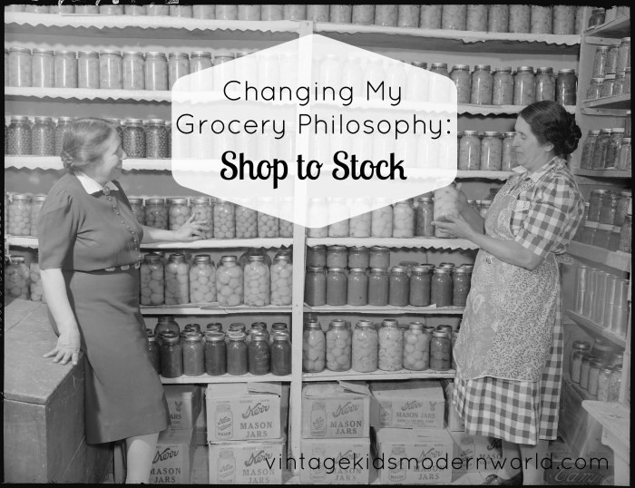 Changing My Grocery Philosophy: Shop to Stock :: Vintage Kids | Modern World