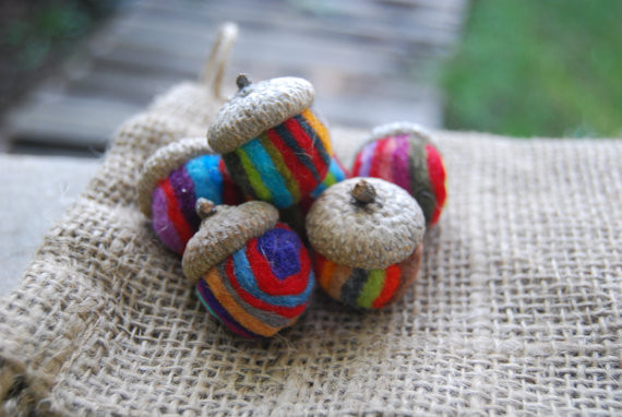 Multi Colored Striped Felted Wool Acorns (set of 6) || www.etsy.com/shop/matthew18five