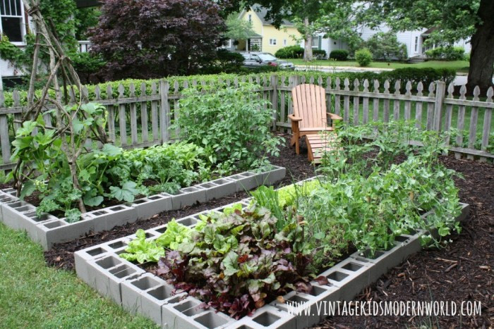 cinder block raised beds :: Vintage Kids Modern World