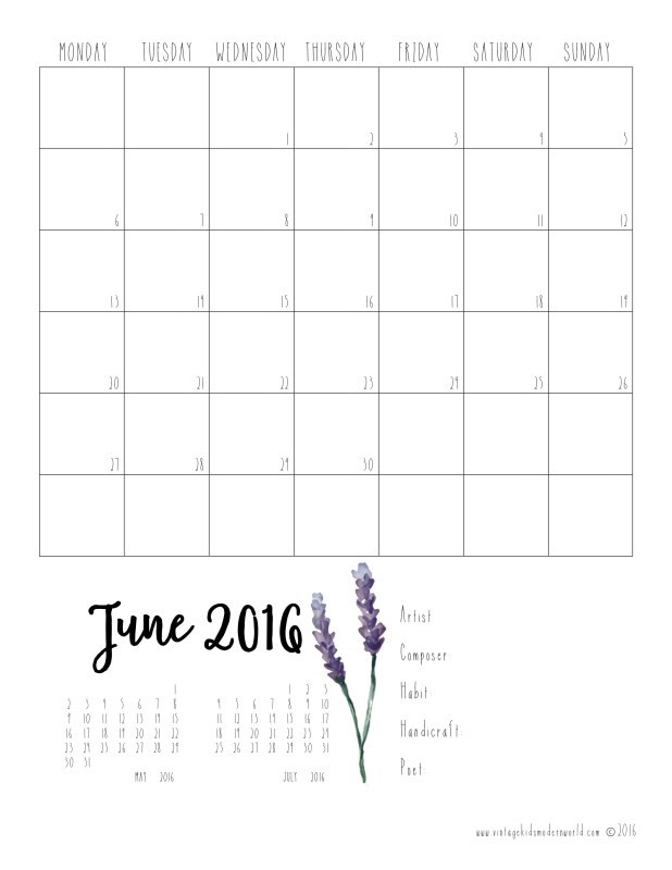 2016-2017 Charlotte Mason Homeschool planner Calendar Pages FREE Printable at Vintage Kids Modern World