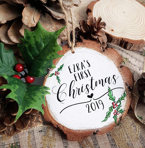 Personalised Hand Painted Wood Slice Baubles