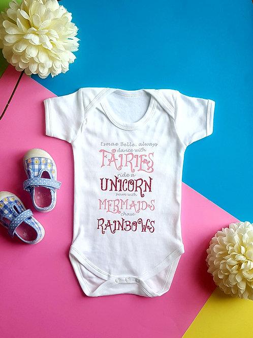 Personalised Fairies, Unicorn, Mermaids and Rainbows Baby Vest
