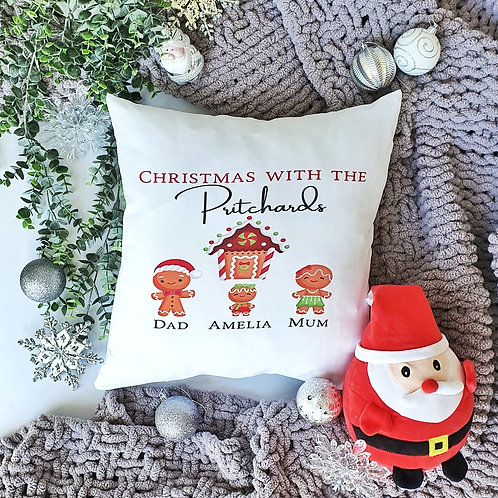 Gingerbread Family Christmas Personalised Cushion