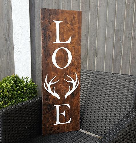 Antler LOVE Wooden Sign