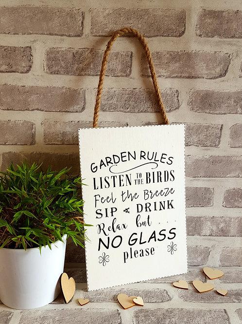 Garden Rules Wooden Sign