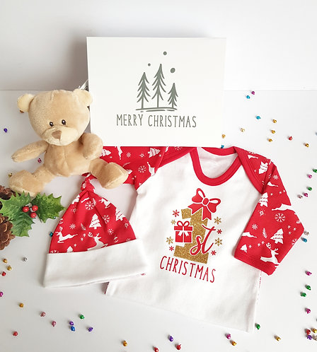 First Christmas Romper, Hat & Box Set