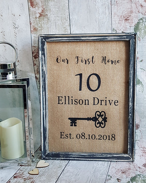 Personalised First Home Canvas Frame